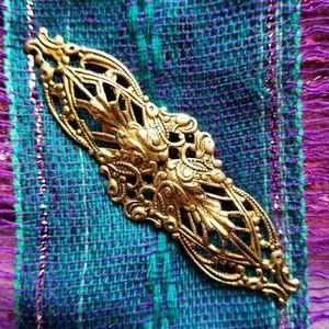 Vintage filigree brooch antique gold tone Pin
